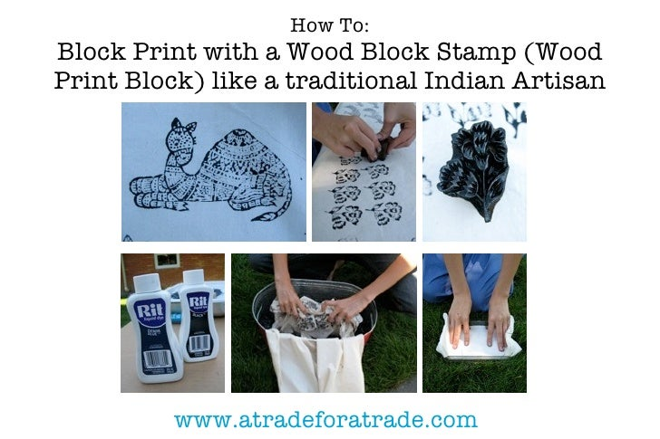 How To: Block Print with a Wood Block Stamp (Wood Print Block) like a traditional Indian Artisan               www.atradef...