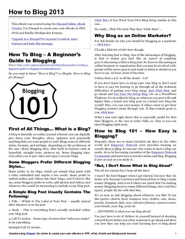 How to Blog 2013