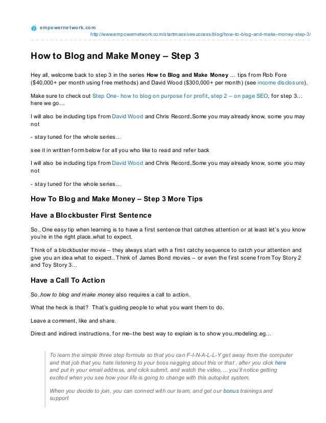 How To Blog and Make Money  - Hypnotic Language - Step 3