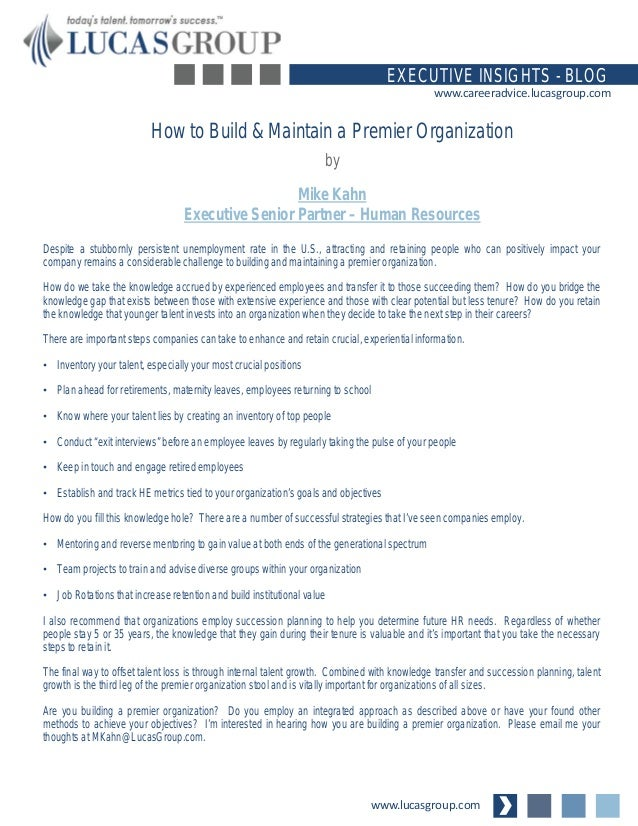 How to Build and Maintain a Premier Organization