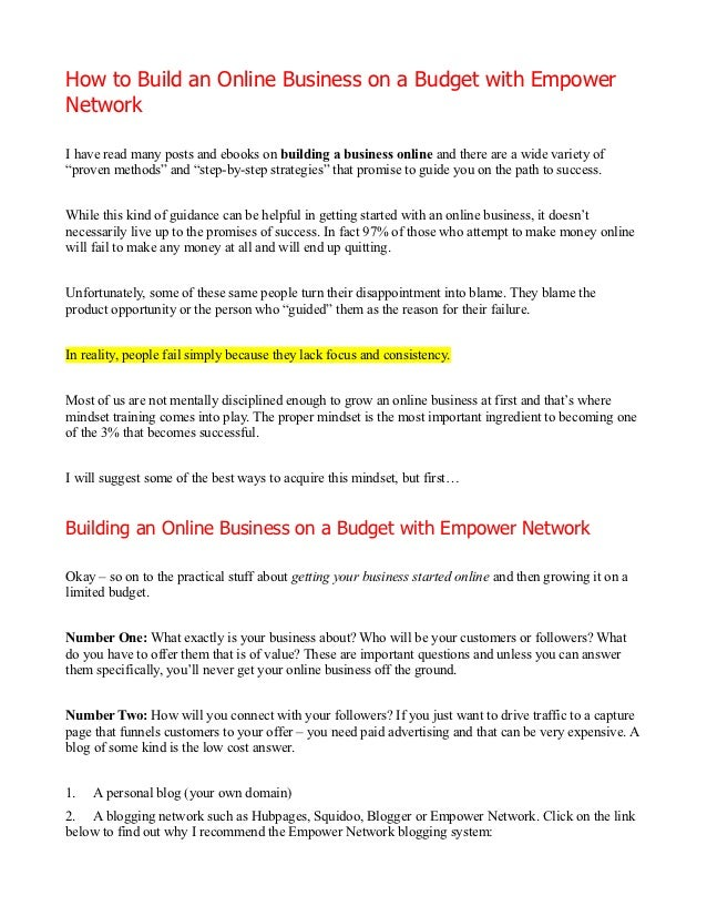 How to Build an Online Business on a Budget with EmpowerNetworkI have read many posts and ebooks on building a business on...