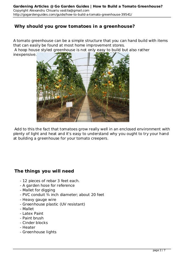 How to Build a Tomato Greenhouse Plans