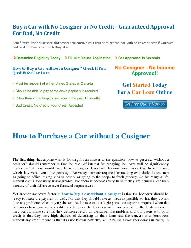 how to buy a car without a cosigner. Black Bedroom Furniture Sets. Home Design Ideas