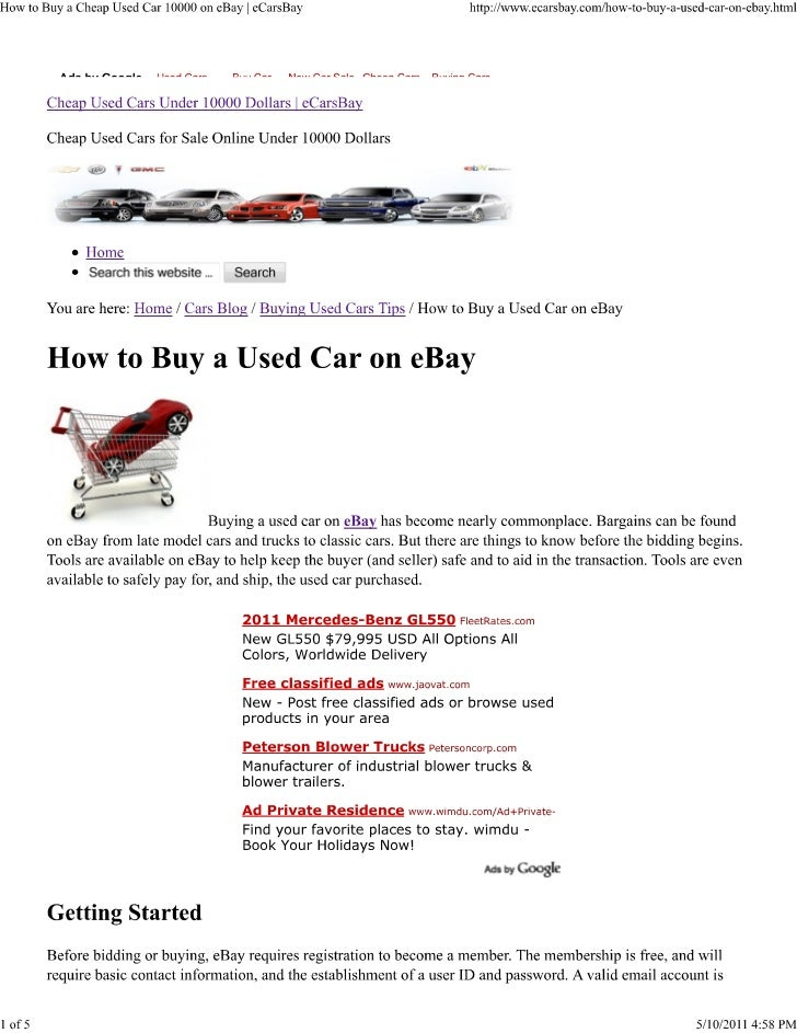 How to buy a cheap used car 10000 on eBay