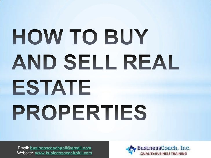 How to buy and sell real estate properties