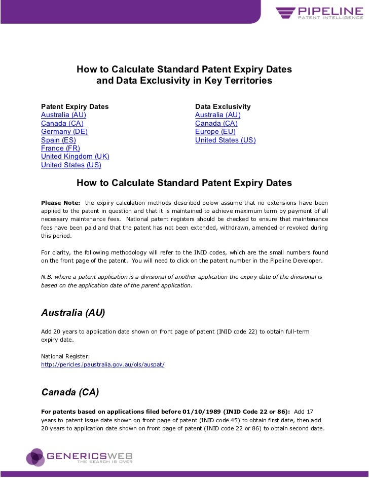 How to Calculate Standard Patent Expiry Dates                  and Data Exclusivity in Key TerritoriesPatent Expiry Dates ...
