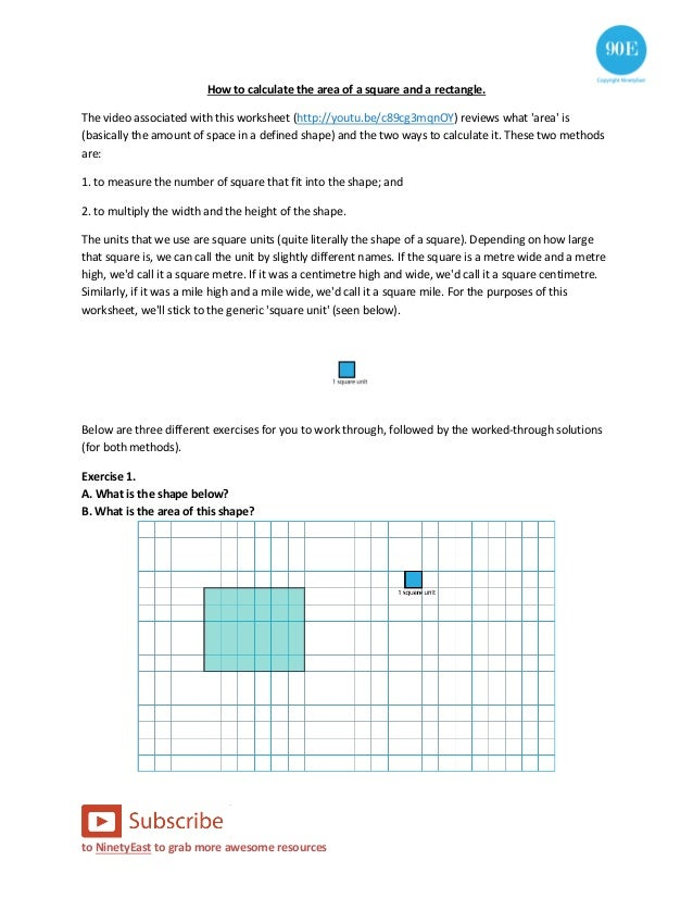 How To Calculate The Area Of A Square And Rectangle