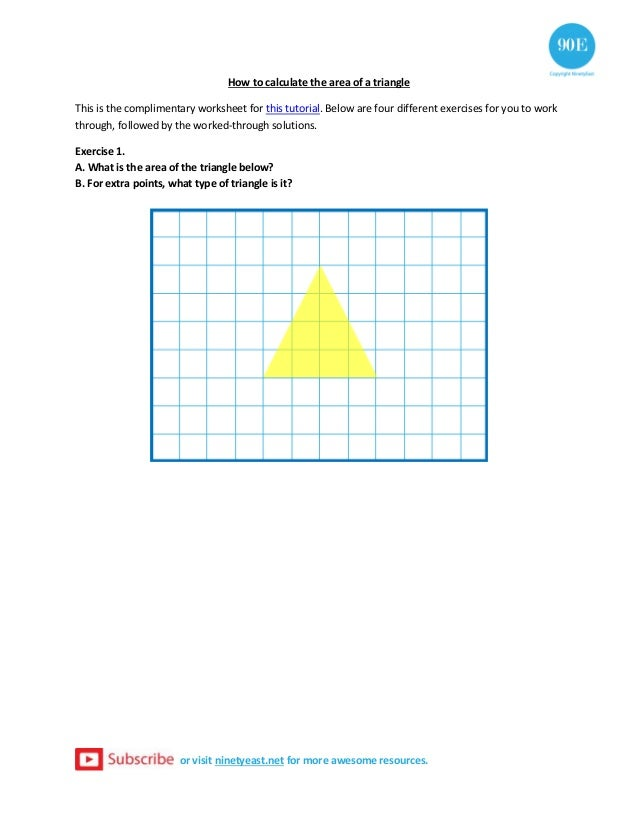 Exercise Worksheet For How To Calculate The Area Of A Triangle