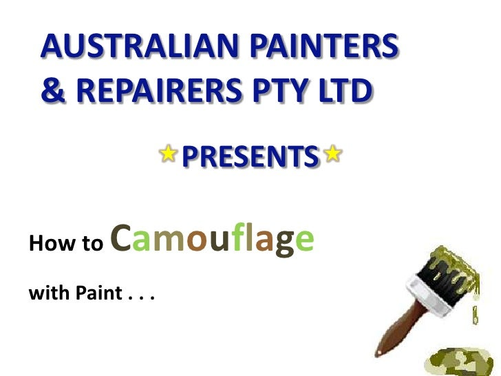 How to camoflage with paint