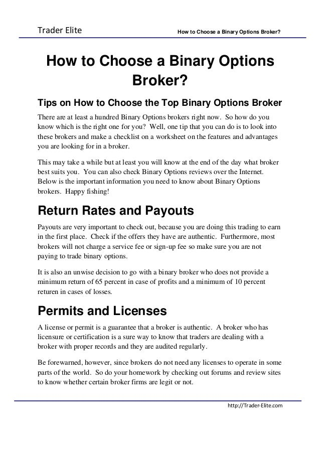Binary option broker withdrawal