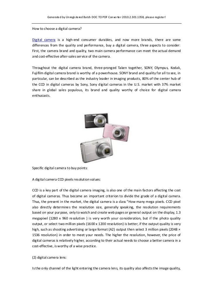 Generated by Unregis tered Ba tch DOC TO PDF Converter 2010.2.301.1358, please register!How to choose a digital camera?Dig...