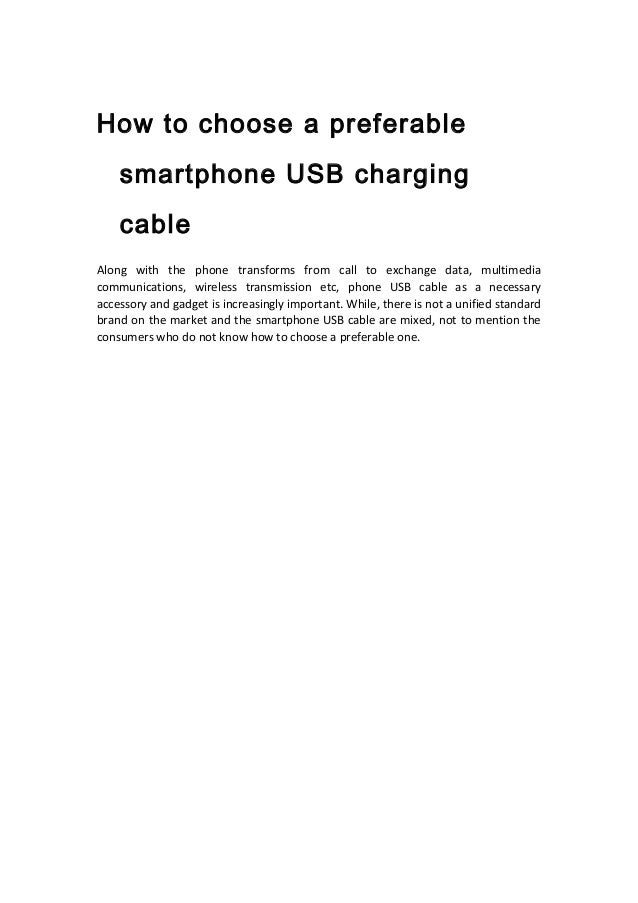 How to choose a preferable smartphone usb charging cable