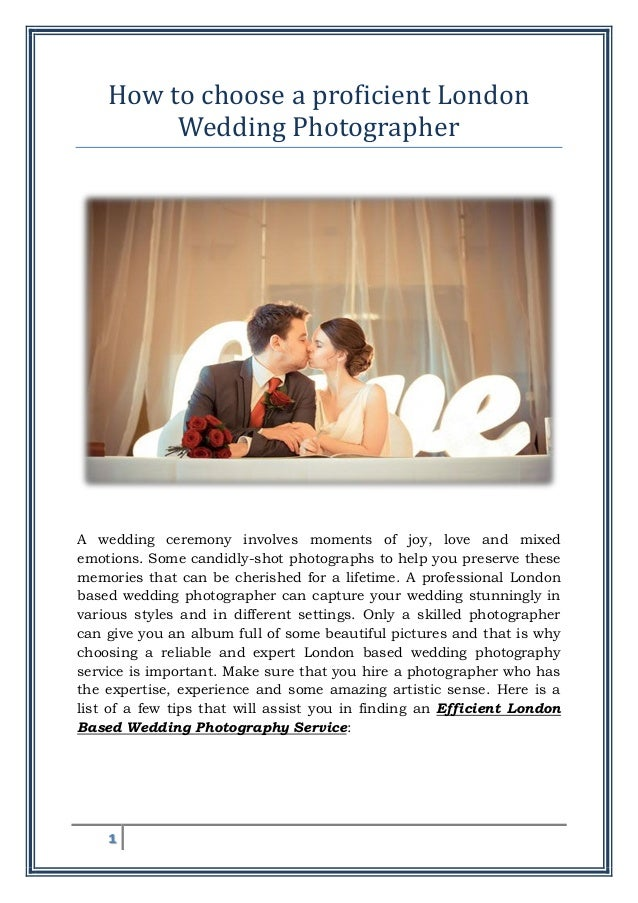 How To Choose A Proficient London Wedding Photographer