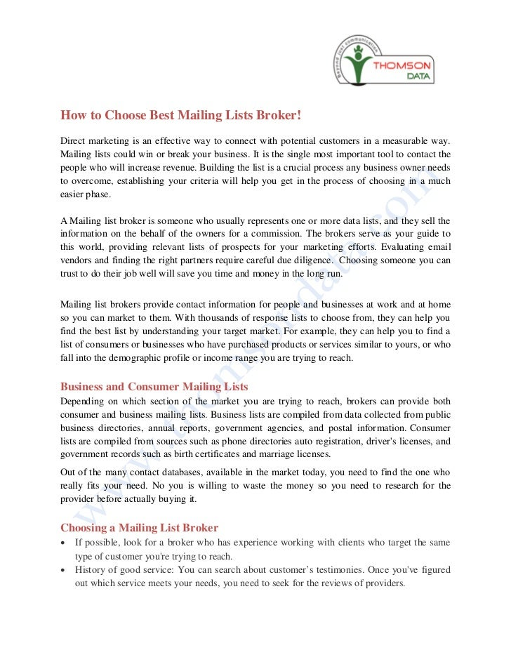How to choose best mailing lists broker