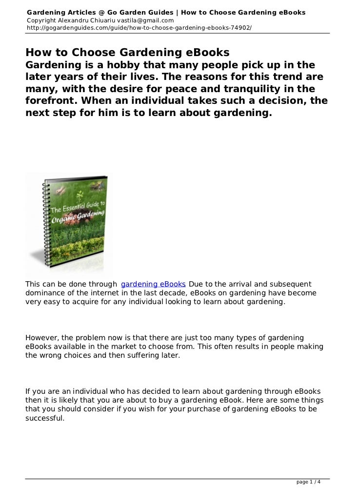 Gardening Articles @ Go Garden Guides | How to Choose Gardening eBooksCopyright Alexandru Chiuariu vastila@gmail.comhttp:/...