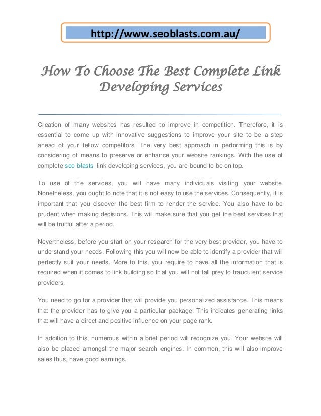http://www.seoblasts.com.au/ How To Choose The Best Complete Link         Developing ServicesCreation of many websites has...