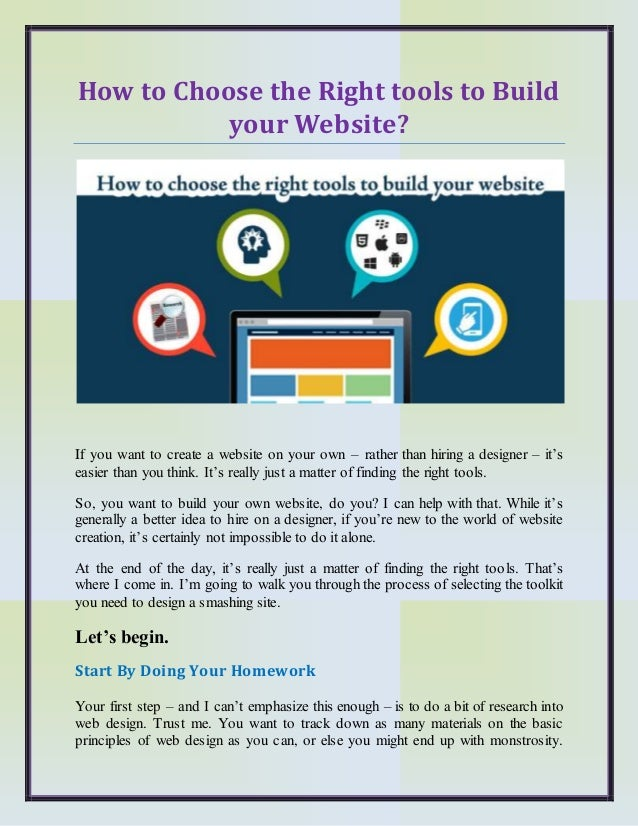 How to Choose the Right tools to Build your Website?