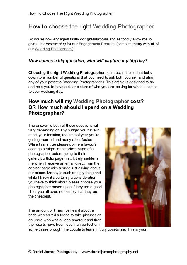 How To Choose The RightWedding Photographer