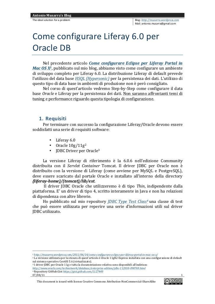 Come configurare Liferay 6.0 per Oracle