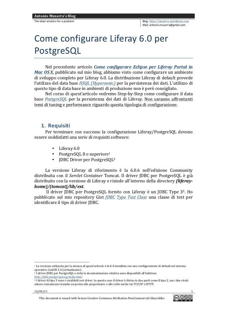 Come configurare Liferay 6.0 per PostgreSQL