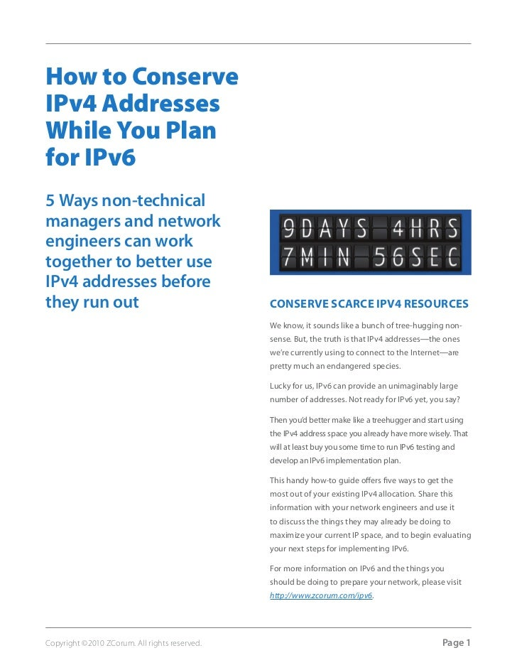 How to ConserveIPv4 AddressesWhile You Planfor IPv65 Ways non-technicalmanagers and networkengineers can worktogether to b...