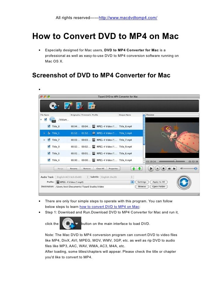All rights reserved——http://www.macdvdtomp4.com/How to Convert DVD to MP4 on Mac •   Especially designed for Mac users, DV...