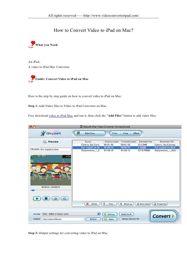 All rights reserved——http://www.videoconverteripad.com/                      How to Convert Video to iPad on Mac?       Wh...