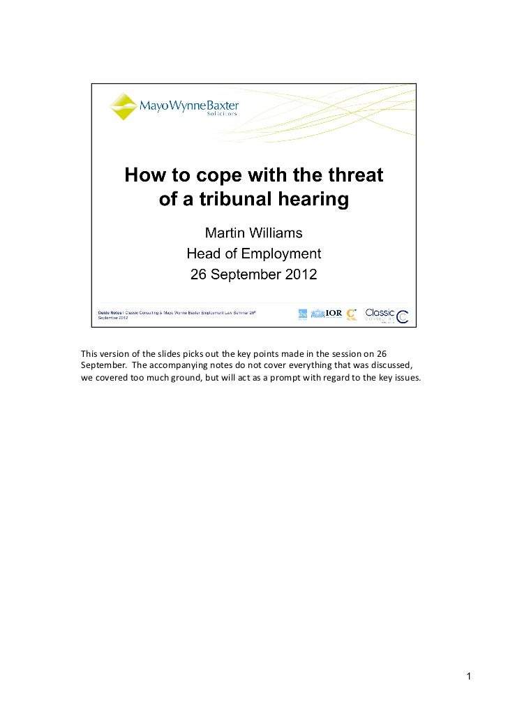 How to Cope with the Threat of Tribunal | Mayo Wynne Baxter | Classic Consulting