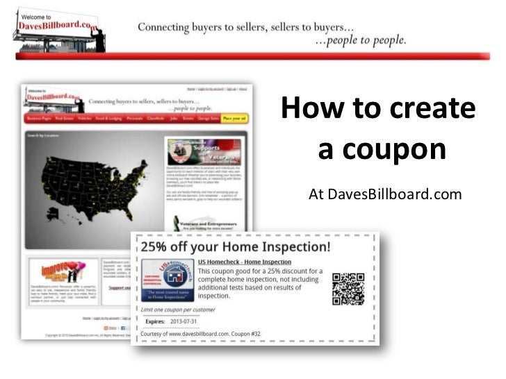 How to create <br />a coupon<br />At DavesBillboard.com<br />