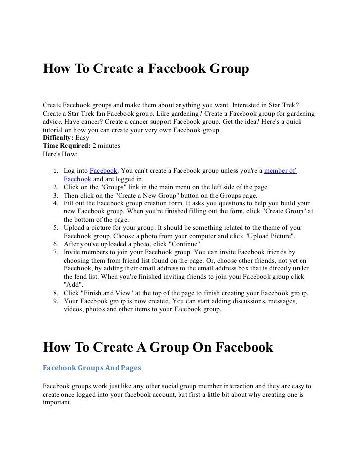 How to create a facebook