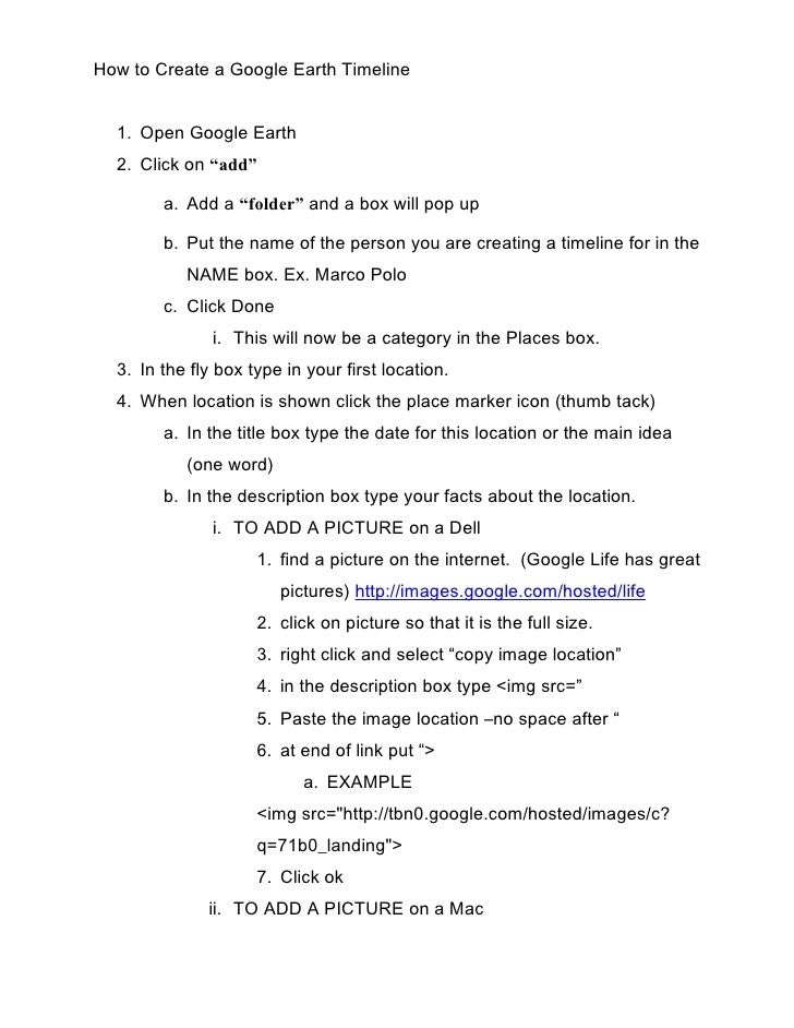 """How to Create a Google Earth Timeline     1. Open Google Earth   2. Click on """"add""""          a. Add a """"folder"""" and a box wi..."""