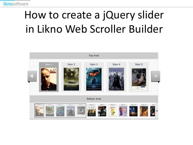 How to create a jQuery slider in Likno Web Scroller Builder