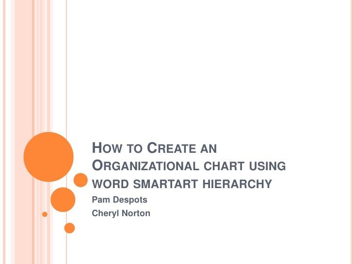How to Create an Organizational chart using word smartart hierarchy<br />Pam Despots<br />Cheryl Norton<br />