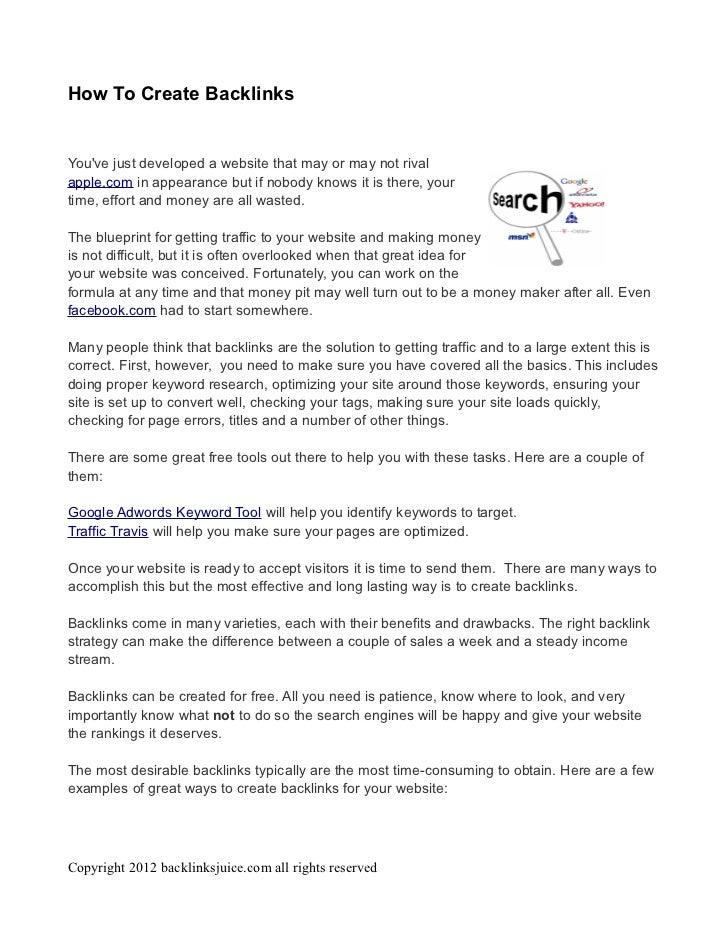 How to create backlinks