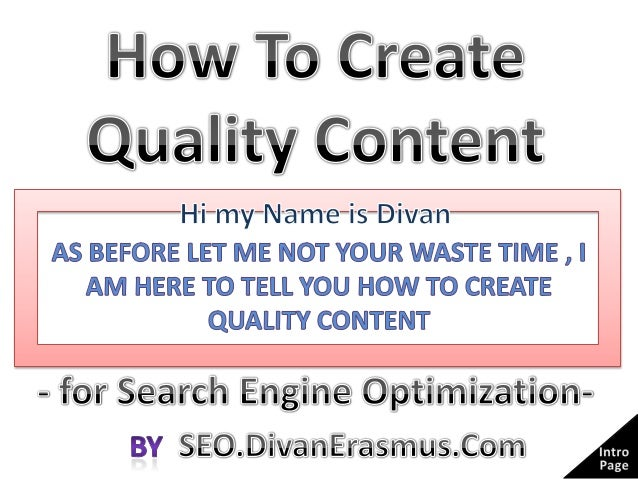 Why Do you need Quality Content?