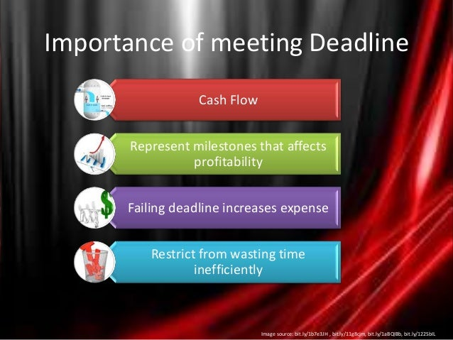 the importance of meeting deadlines Meeting deadlines and keeping schedules: impact of temporal-sequential ordering for many students, time is their most precious resource making the most of the time they have enables students to be as efficient and successful as possible, leading a balanced life of work and play.