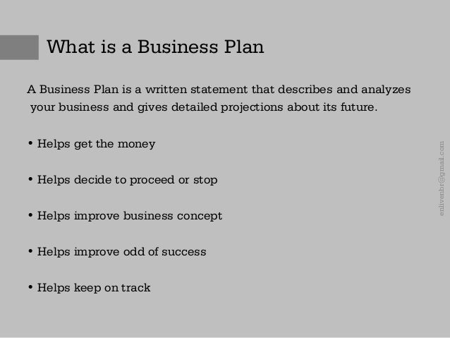 What a business plan