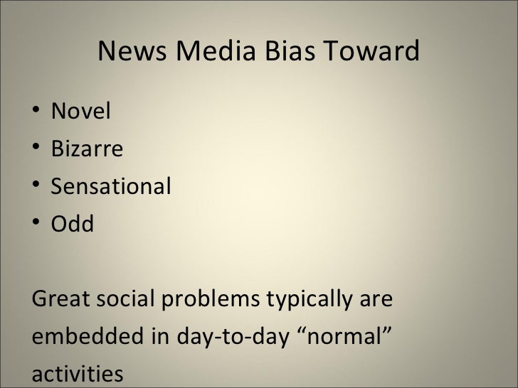 bias in news media The existence of bias in news media is well known indeed, it is so common that a number of websites are established to spot and report the bias in news.