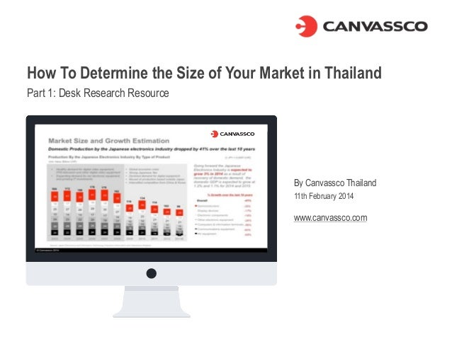How To Determine the Size of Your Market in Thailand Part 1: Desk Research Resource By Canvassco Thailand 11th February 20...