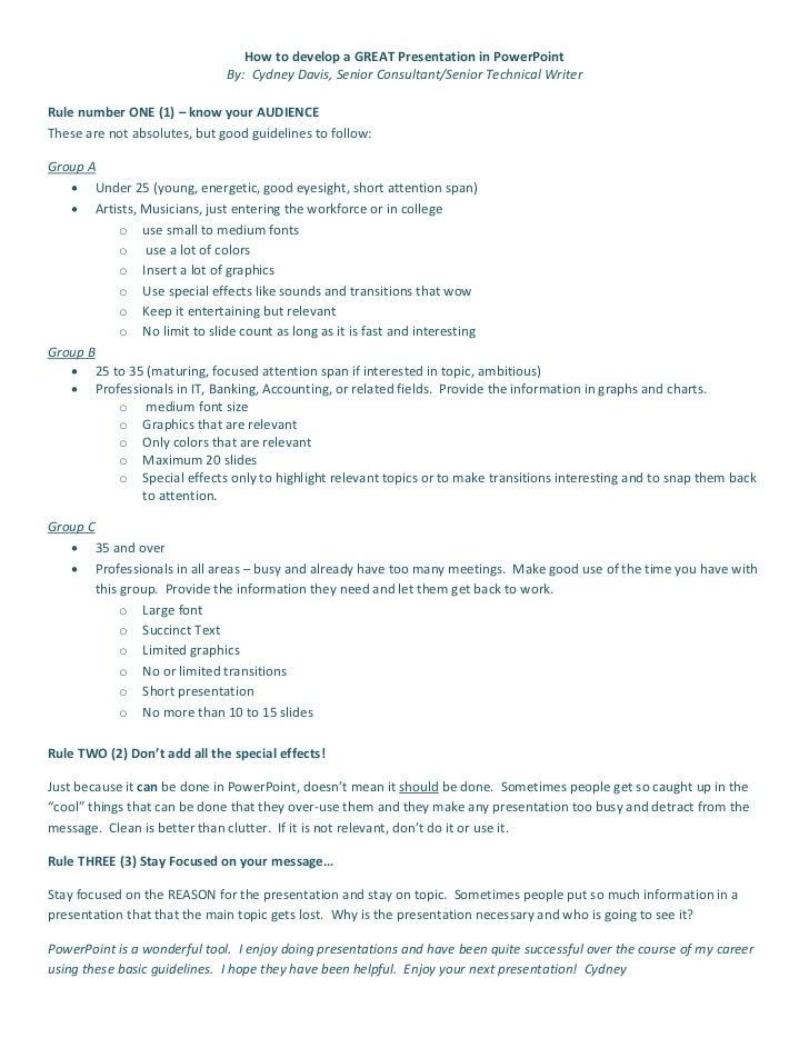 How to develop a GREAT Presentation in PowerPoint                              By: Cydney Davis, Senior Consultant/Senior ...