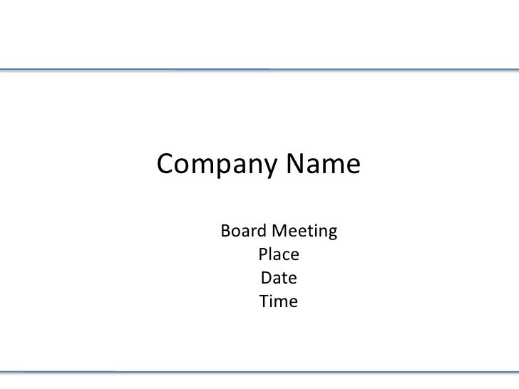 Board Meeting 101