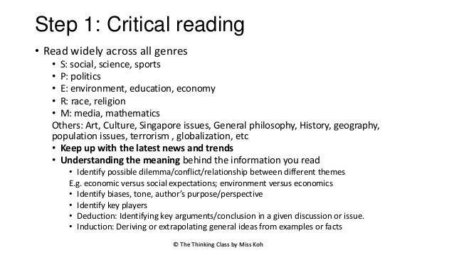 reading essays critically Efficient reading isn't the only skill you need at university you also need to read critically this means suspending judgement on a text until you.