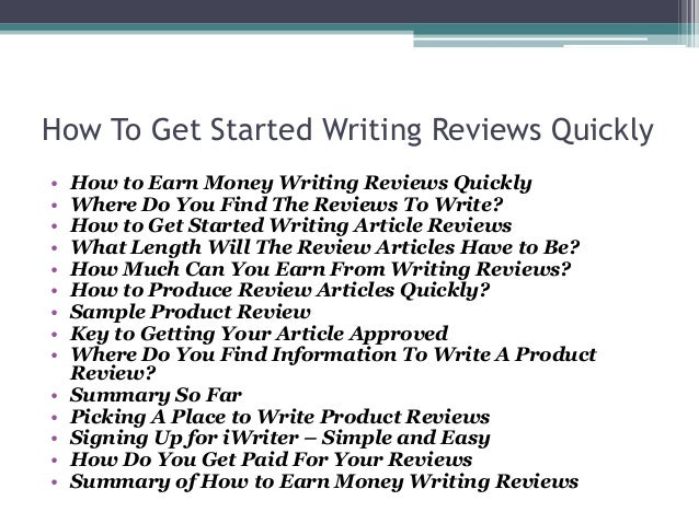 writing reviews online for money