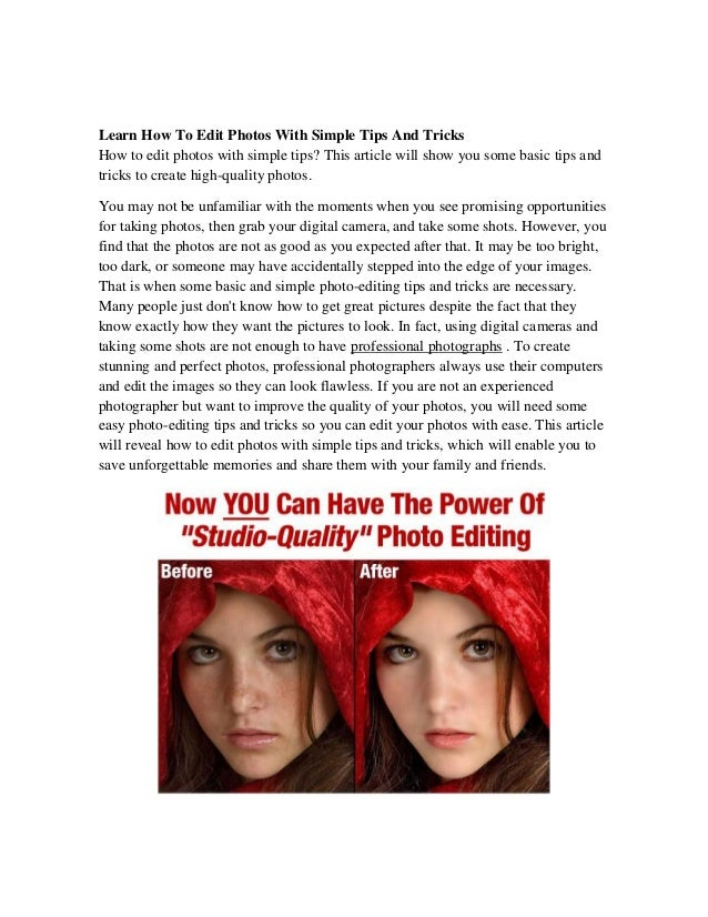 Learn how to edit photos with simple tips and tricks for Minimalist tips and tricks