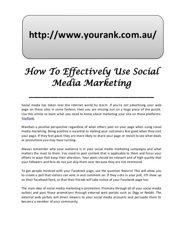 How to effectively use social media marketing