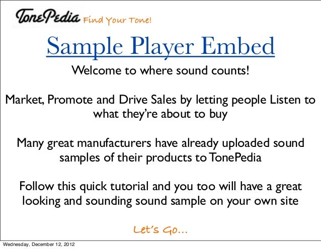 How To Embed The TonePedia Player