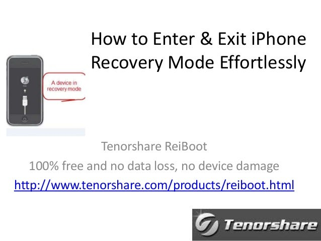 How to Enter & Exit iPhone Recovery Mode Effortlessly  Tenorshare ReiBoot 100% free and no data loss, no device damage htt...
