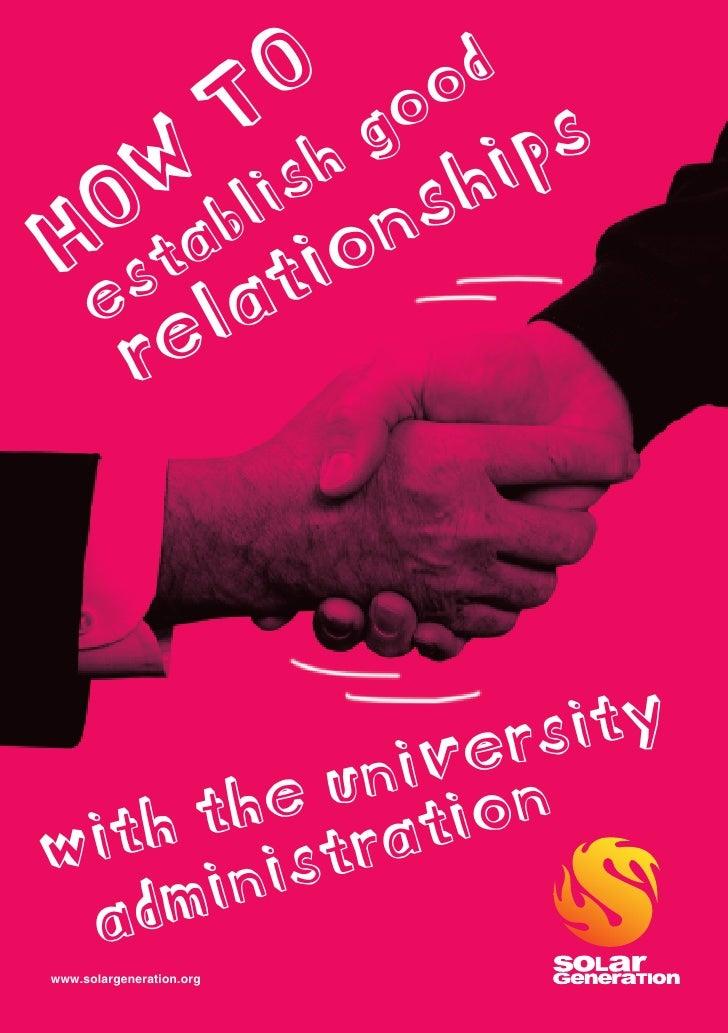 How to establish good relationships