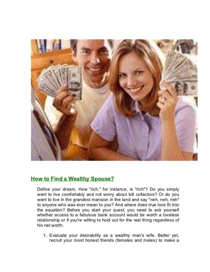 How to find a wealthy spouse