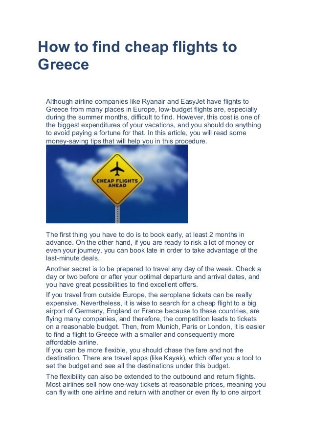 How to find cheap flights to greece for How to find cheapest flight
